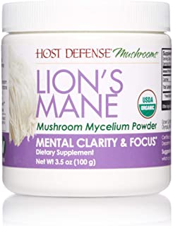 Host Defense, Lion's Mane Mushroom Powder, Supports Mental Clarity, Focus and Memory, Certified Organic Supplement, 3.5 oz...