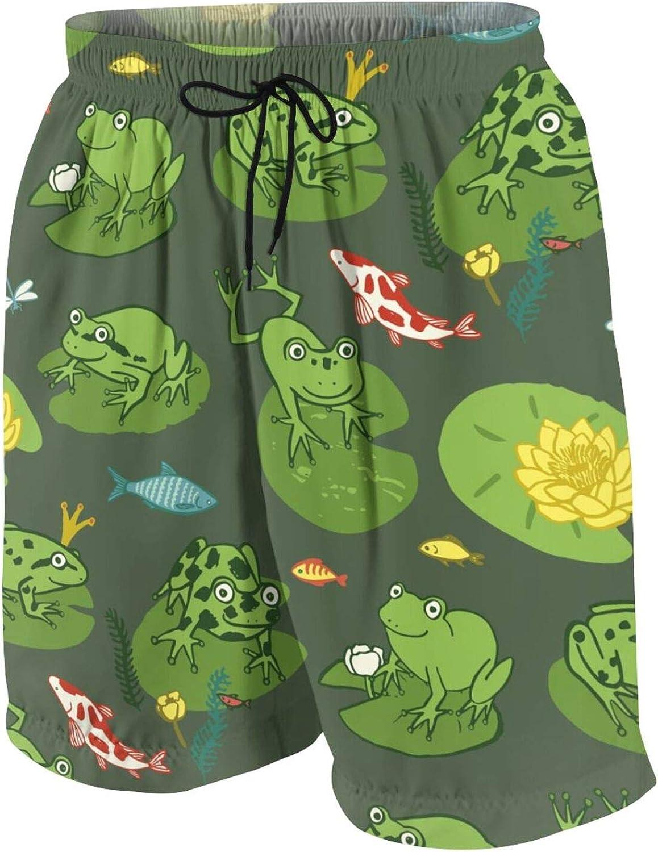 Boys Teens Swim Trunks Funny Frog Animal Quick Dry Beach Board Swim Shorts 7-18T
