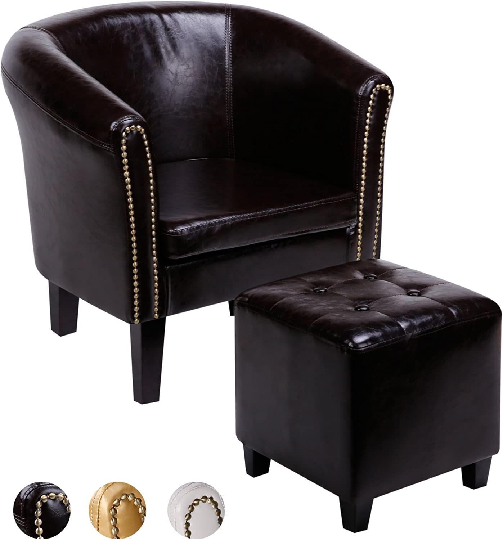 CCLIFE Chesterfield Sessel Loungesessel mit Hocker Clubsessel Cocktailsessel Ledersessel Braun Weiss Gold, Farbe Braun + Hocker