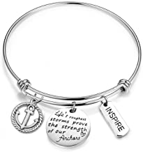 MYOSPARK Inspirational Bangle Life's Roughest Storms Prove The Strength of Our Anchors Wire Bangle Expandable Bracelet with Anchor Charm
