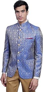 WINTAGE Men's Banarasi Rayon Cotton Festive and Casual Bandhgala Jodhpuri Blazer :Red1
