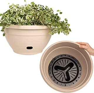 Garden Artist (2 Pack) 14 Inch Self Watering Planter Bowls Indoor Outdoor Planters Flower Pot with Drainage Hole