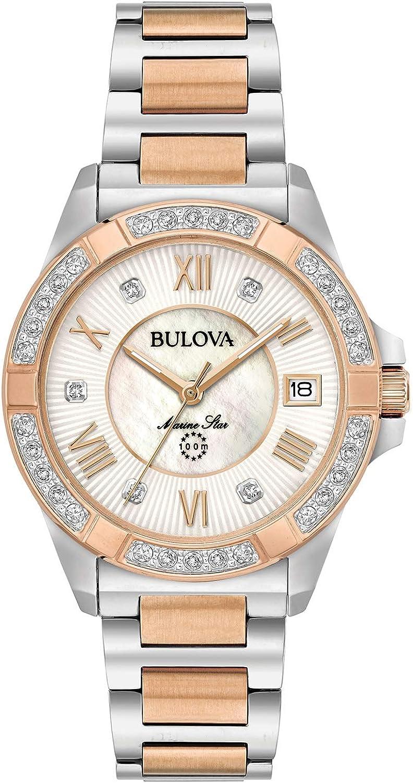 Bulova de las mujeres 32mm bicolor Marino Star acero inoxidable y diamantes reloj de pulsera