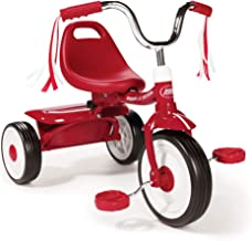 Radio Flyer 411S Kids Toddler Readily Assembled Adjustable Beginner Trike Tricycle Bike with Storage Bin and Handle Stream...