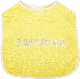 """King Bear - Babero para bebé, bordado, con frase """"J'aime maman"""", amarillo y gris"""