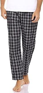 Litherday Men's Pyjama Bottoms Check Cotton Lounge Pants Sleepwear Casual Plaid PJ Trousers Loungewear Nightwear with Pockets