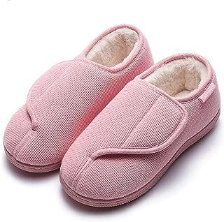 GaraTia Women's Memory Foam Diabetic Slippers Furry No-Slip Arthritis Edema House Shoes