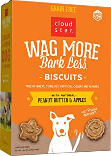 Cloud Star Wag More Bark Less Oven Baked Biscuits, Grain Free Crunchy Dog Treats, Peanut Butter & Apples 14 oz.
