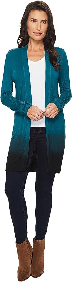 Mod-o-doc Rayon Spandex Jersey Dip-Dye Shirred Back Cardigan