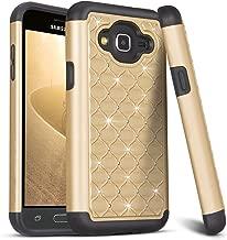 Galaxy J3/Sky/Sol Case,Amp Prime Case,Express Prime Case,TILL Studded Rhinestone Crystal Bling Shock Absorbing Hybrid Defender Rugged Slim Case Cover for Samsung Galaxy J3 J320 [Gold]
