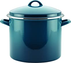 Rachael Ray 46326 Enamel on Steel Stock Pot/Stockpot with Lid, 12 Quart, Marine Blue