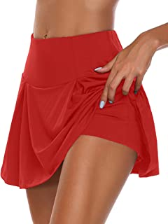 Women's Active Skort Athletic Stretchy Pleated Tennis Skirt for Running Golf Workout