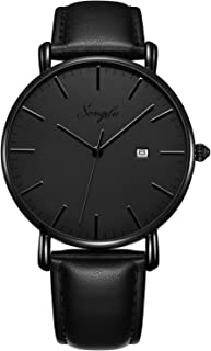 Men's Ultra-Thin Quartz Analog Date Wrist Watch with Black Leather Strap