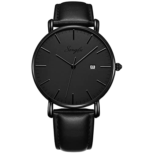 SONGDU Mens Ultra-Thin Quartz Analog Date Wrist Watch with Black Leather Strap
