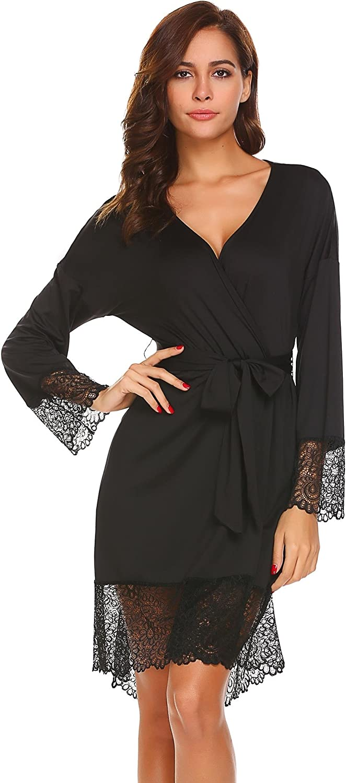 Etuoji Womens Robe Lace Trim Bathrobe Kimono Loungewear Comfort Sleepwear