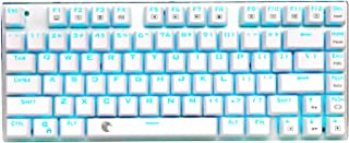 E-YOOSO Z-88 Mechanical Gaming Keyboard, Compact 81 Keys Replaceable Blue Switches Blue Backlit (One Color White)