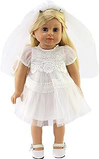 لباس مجلسی سفید جهانی مد آمریکا با حجاب ساخته شده برای عروسک های 18 اینچی مانند عروسک های دخترانه آمریکایی