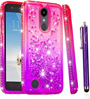 Cattech for LG Aristo 2 Case/LG Aristo 2 Plus Case/LG Tribute Dynasty/LG Phoenix 4 Case, Glitter Floating Flowing Sparkle Flexible TPU Bling Diamond Slim Clear Soft TPU Cover + Stylus (Pink/Purple)