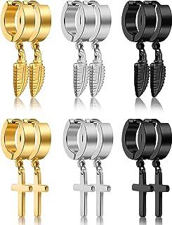 6 Pairs of Cross Earrings Dangle Hinged Earrings Stainless Steel Cross Hoop Earrings and Stud Earrings for Men and Women W...