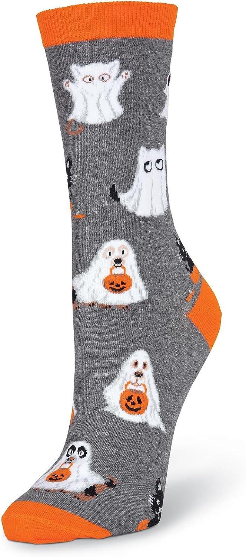 K. Bell Women's Cat & Dog Ghosts Crew Socks, charcoal heather, Shoe Size: 4-10