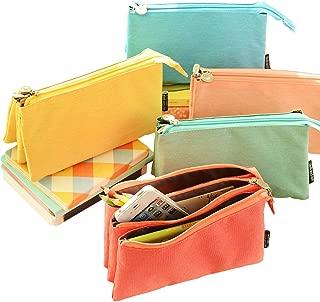 O,Like Super Capacity Pencil Case Three Compartment Pencil Holer Pencil Pouch Pen Bag Cosmetic Bag (yellow)