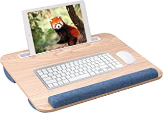 Rentliv Home Office Lap Desk- Portable Laptop Lap Desk with Cushion and Wrist Pad for Bed, Lap Desk for Laptop up to 15.6 ...