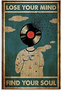 OIUYT Vintage Posters DJ Lose Your Mind Find Your Soul Poster Decorative Painting Canvas Wall Art Living Room Posters Bedr...