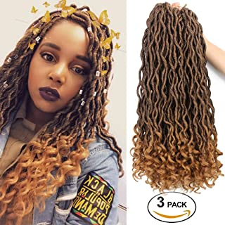 Goddess Locs Crochet Braid Hair Natural Crochet Goddess Faux Locs Hair Curly Ends Synthetic Braiding Hair Extension Ombre Blonde Havana Bohemian Twist for Black Women(3Packs,T1B/27#)