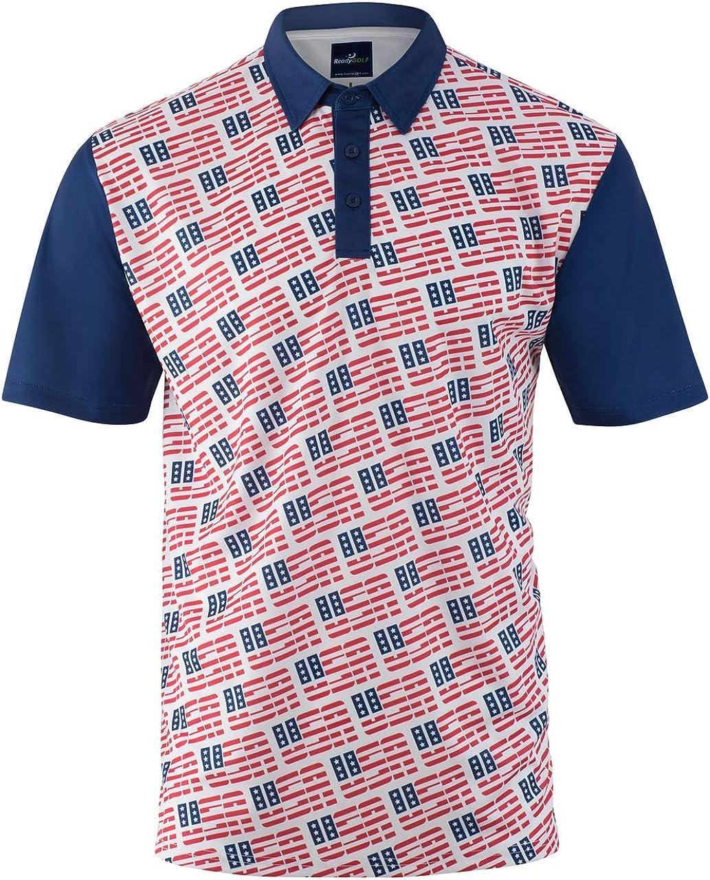 ReadyGOLF Mens Golf Polo Shirt - USA, USA, USA