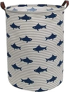 ESSME Laundry Hamper,Collapsible Canvas Waterproof Storage Bin for Kids, Nursery Hamper,Gift Baskets,Home Organizer (Shark)
