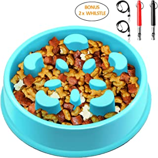 Keethem Slow Feed Dog Bowl, Bloat Stop Dog Bowl Slow Feeder No Chok Anti-Gulping Dog Feeder, Come with 2pcs Ultrasonic Dog Whistle to Stop Barking for Large Medium Small Dogs(Blue)