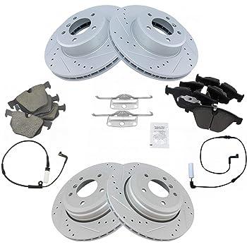 4 Ceramic Pads Rear Kit 5lug 2 Cross-Drilled Disc Brake Rotors High-End Fits:- Wrangler
