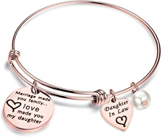 bobauna Daughter in Law Gift Marriage Made You Family Love Made You My Daughter Adjustable Wire Bangle Bracelet Keychain