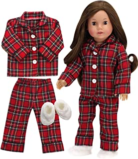 Sophia's 18 Inch Doll PJs for Boy or Girl Red Flannel Pajama Top and Bottoms with White Slippers, 3 Piece Set