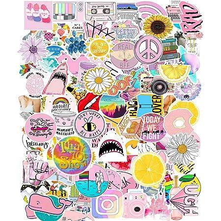 Adesivi Carini Piccoli,103 Pezzi Adesivi per Bottiglie D'Acqua, Adesivi Rosa Graffiti, Adesivi Ragazza Vsco, Adesivi Alla Moda, Adesivo Valigia, Vsco Simpatici Adesivi, per Laptop, Valigie, Chitarra