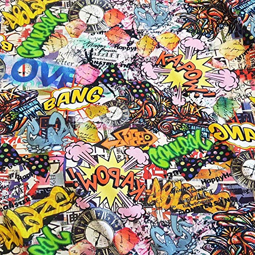 Tela de Tela de algodón de Werthers, por Metros, Jersey, cómic, Pop Art