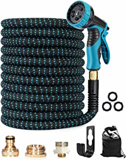 Trongle Expandable Garden Hose Pipe, 150FT/45M Pipe with 10 Function Spray Gun Nozzle Brass Fittings Wall Hanger Storage B...