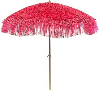 DestinationGear Palapa Tiki Umbrella Home Patio Sun Shade Tropical Hot Pink Color Staggered Polypropylene UV Resistant Wont Fade 6 Foot Diameter 7 Foot Pole 3 Position Tilt Sturdy Aluminum Frame