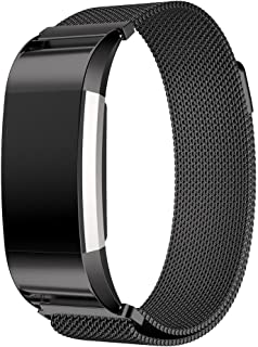 For Fitbit Charge 2-Milanese Loop Stainless Steel Metal Bracelet Strap with Unique Magnet Lock, No Buckle Needed for Fitbit Charge 2 HR Fitness Tracker-Black