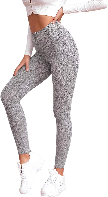 SweatyRocks Women's Fashion High Waisted Running Workout Leggings Tummy Control Gym Leggings Stretch Yoga Leggings