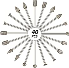 60 Grit 40 Pieces Diamond Burr Set Rotary Grinding Burrs Drill Bits Set Diamond Burr Bit with 1/8 Inch Shank, Diamond-Coat...