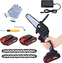 Mini Electric Chainsaw with 2 Battery and 2 Chain Saw, 4-Inch Safe and Power Cordless Electric Chainsaw, One-Handed Portab...