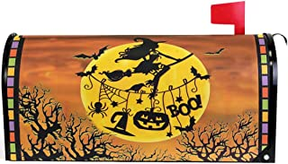 Wamika Happy Halloween Witch Pumpkin Bat Full Moon Mailbox Cover Magnetic Standard Size,Autumn Leaf Forest Castle Letter Post Box Cover Wrap Decoration Welcome Home Garden Outdoor 21