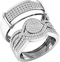 Dazzlingrock Collection 0.65 Carat (ctw) Round White Diamond Men's and Women's Engagement Ring Trio Set, 14K White Gold