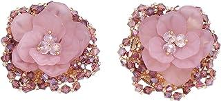 Paialco Purple Fairy Rose Flower Stud Earrings Princess Elegant Alloy Golden Women Ear Studs