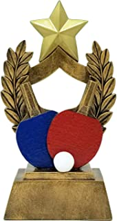 Decade Awards Ping Pong Trophy - Colored Paddles Table Tennis Award - 6.5 Inch Tall - Customize Now