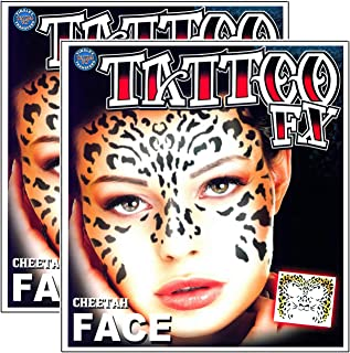 Tribal Cheetah Temporary Face Tattoo Makeup Kit - Set of 2 Complete Kits