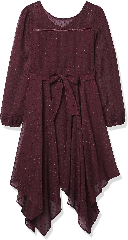 Speechless Girls' Long Sleeve Hanky Hem Dress