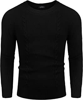 JINIDU Mens Casual Sweater Fashion Crewneck Pullover Slim Fit Twisted Knitwear
