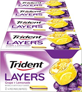 Trident Layers Sugar Free Gum (Grape Lemonade, 14-Piece, 12-Pack)